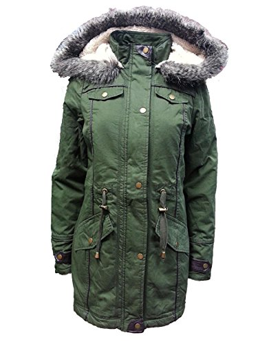 Brave Soul Women's LJK Allure Hooded Jacket Coat 8 Khaki (Allure Vest)