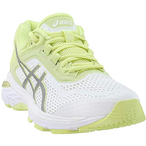Running 6 Control Shoe Stability - ASICS Womens GT-2000 6 Lite-Show Sneaker, White/Silver/Limelight, Size 8