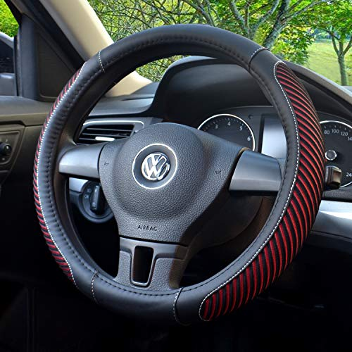- BOKIN Steering Wheel Cover, Microfiber Leather and Viscose, Breathable, Anti-Slip, Odorless, Warm in Winter and Cool in Summer, Universal 15 Inches (New Red)