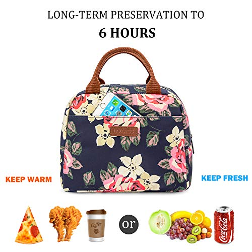 LOKASS Lunch Bag Cooler Bag Women Tote Bag Insulated Lunch Box Water-resistant Thermal Lunch Bag Soft Leak Proof Liner Lunch Bags for women/Picnic/Boating/Beach/Fishing/School/Work (Peony) by LOKASS (Image #3)