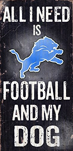 Detroit Lions Wood Sign - Football and Dog 6x12