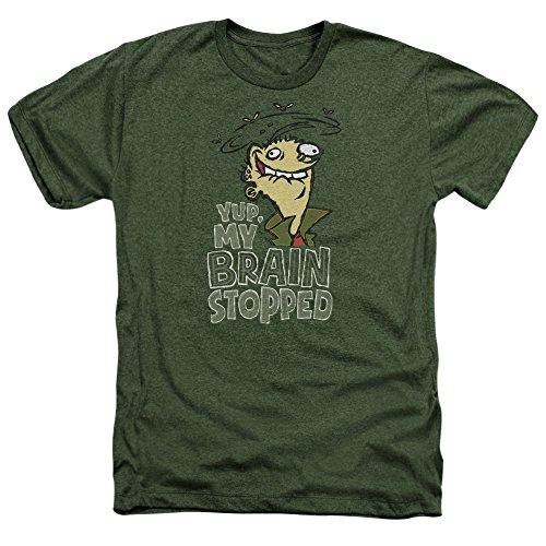 Trevco Men's Edd N Eddy Brain Dead Ed Heather Adult T-Shirt, Military Green, Small