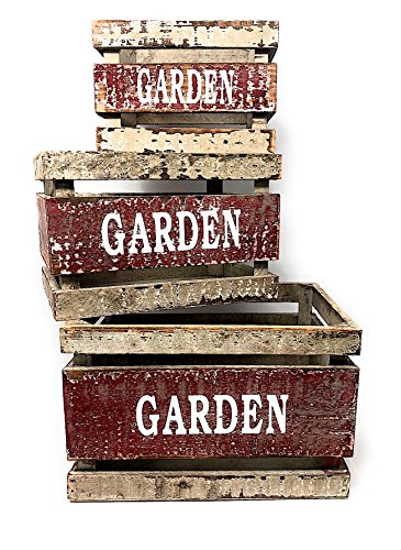 Wooden Crates Fruit Basket Decorative Kitchen Storage Garden Decor by PKD (Set of 3)