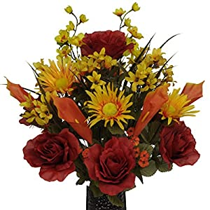 Burgundy Rose and Orange Calla Lily Mix Artificial Bouquet, featuring the Stay-In-The-Vase Design(c) Flower Holder (MD1092) 87