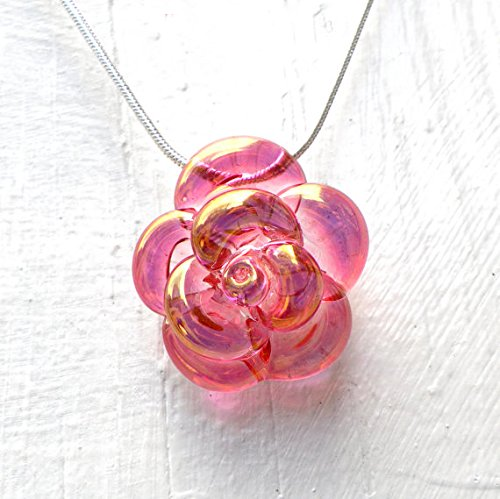Amazon pink rose necklace glass hand blown lampwork flower pink rose necklace glass hand blown lampwork flower pendant pink and gold glass rose audiocablefo light ideas