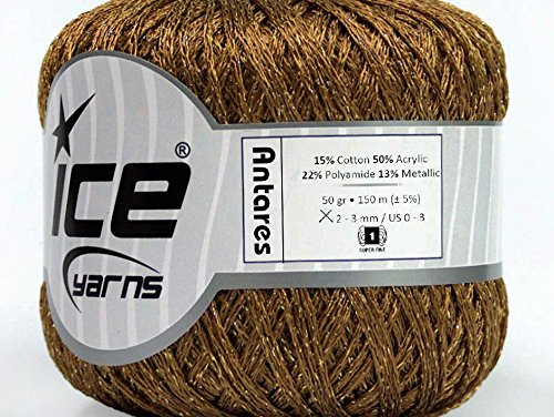lot-of-6-skeins-ice-yarns-antares-15-cotton-yarn-light-brown-gold