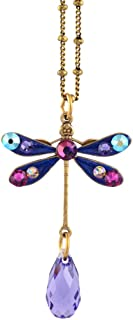 product image for Anne Koplik Small Multicolor Dragonfly Drop Necklace, Antique Gold Plated