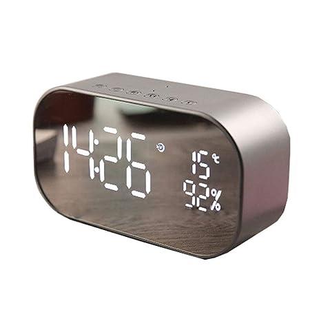 GCDN Altavoz de Bluetooth Inalámbrico Espejo Soonze Reloj de Mesa ...
