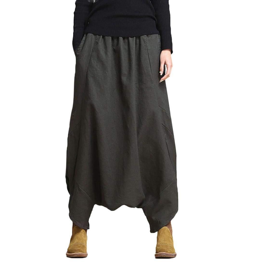 Women's Cotton Linen Baggy Boho Retro Yoga Harem Pants Muranba