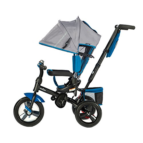 Evezo 307A 4-in-1 Adult Push Tricycle for Kids, Stroller Trike, Reclining Seat, Ringing Bell, 5-Point Safety Harness, Full Canopy, Storage Bin (Ocean Blue)