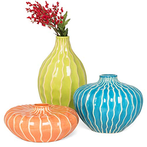 Best Choice Products Set of 3 Home Decorative Ceramic Accent Vases for Living Room, Bedroom, Dining Room, Office, Indoor/Outdoor Events w/Assorted Sizes, Stain-Resistant Finish - Blue, Green, Orange ()