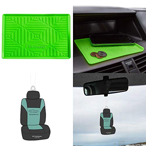 FH Group FH3011 Anti-slip Silicone Dash Mat Smartphone Iphone, Iphone Plus, Galaxy, Galaxy Note Coin Grip w. Free Air Freshener, Green Color ()