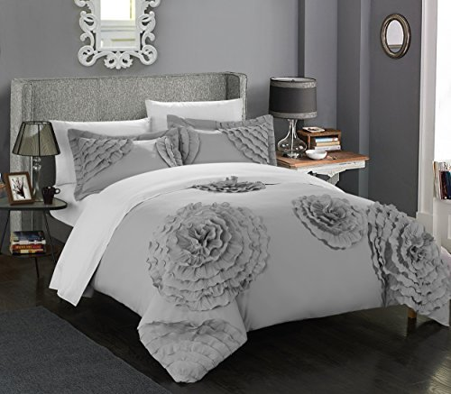Chic Home 3 Piece Birdy Floral and Rose Pleated Etched Applique Duvet Cover Set, Queen, Silver