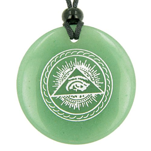 All Seeing Third Eye Amulet Green Quartz Pendant Necklace