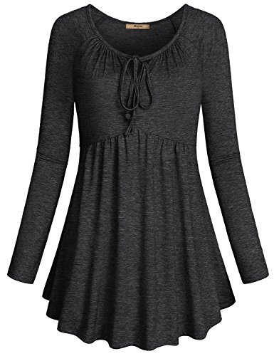 Miusey Long Sleeve Blouses Women, Ladies Fashion V Neck Knitting Solid Color...