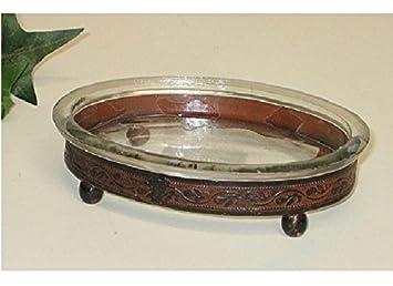Nostalgische Seifenschale Braun Ablageschale Bad Seifenhalter Glas