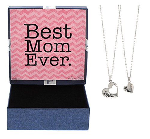 Mother Daughter Jewelry Silver-Tone Heart Pendant 2-Piece Necklace Set Best Mom Ever Jewelry Box Mother Daughter Necklace Set Mom from Daughter
