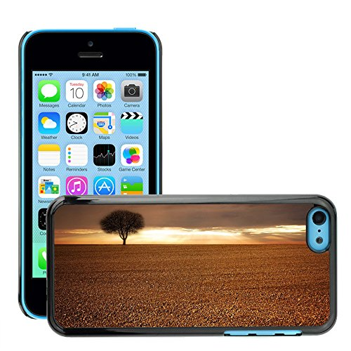Just Phone Cases Hard plastica indietro Case Custodie Cover pelle protettiva Per // M00421718 Paysage, Champ, agricole, Arbre, Ciel // Apple iPhone 5C