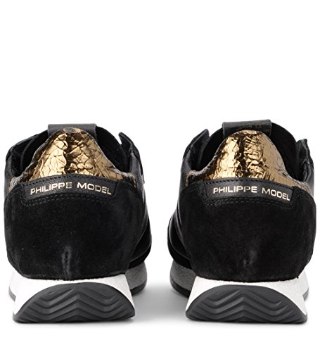 Sneaker 41 Black US and 9½ Leather Golden Black MODEL Monaco PHILIPPE Woman's EU wfqB0On8