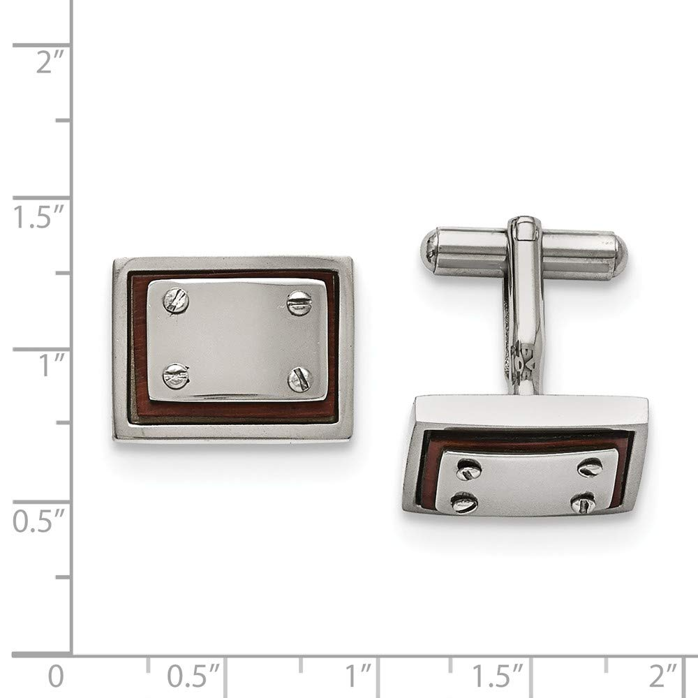 Black Bow Jewelry Mens Stainless Steel and Wood Inlay 20mm Rectangular Cuff Links