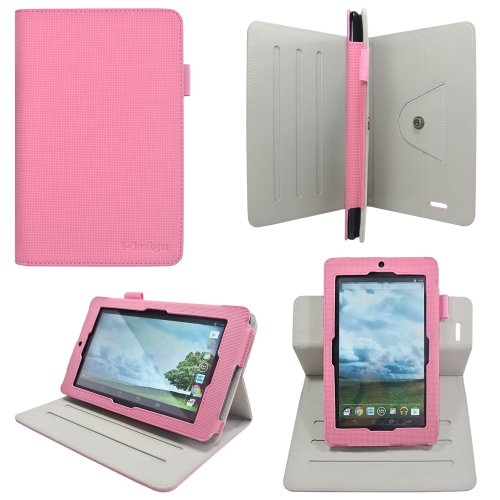 - i-design Asus MeMO Pad 7 ME172V / ME176C 7 inch Tablet Slim Folio Book Shell Case With Rotary Dualscape Stand, Stylus Loop (Asus MeMO Pad 7, Pink)