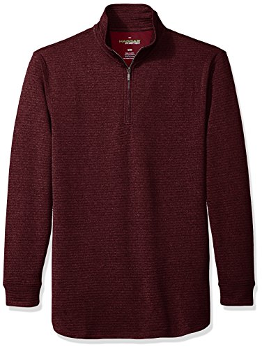 Haggar Men's Long Sleeve Athleisure Ottoman Knit Quarter Zip, Cold Cranberry Heather, M -