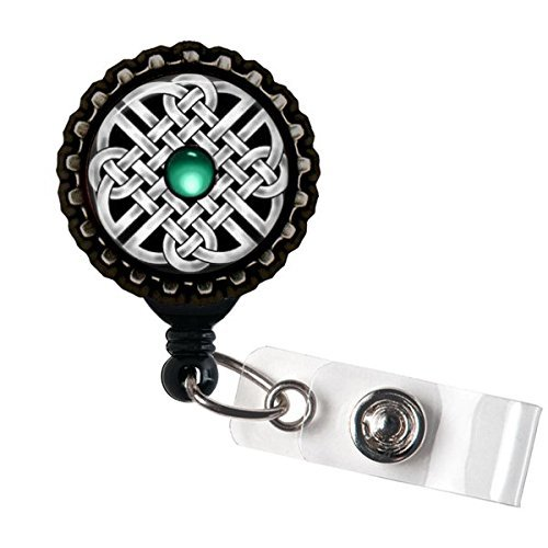 Celtic Solomon Knot Name Badge Holder Retractable Reel Bottle cap