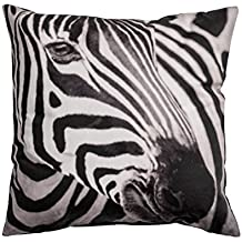 Zebra Print Accent Decorative Throw Pillow Cover 100% Cotton Throw Pillow Cover Cushion 16 X 16""