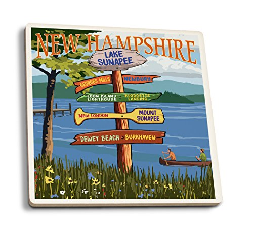 Lake Sunapee, New Hampshire - Destinations Signpost (Set of 4 Ceramic Coasters - Cork-Backed, Absorbent)
