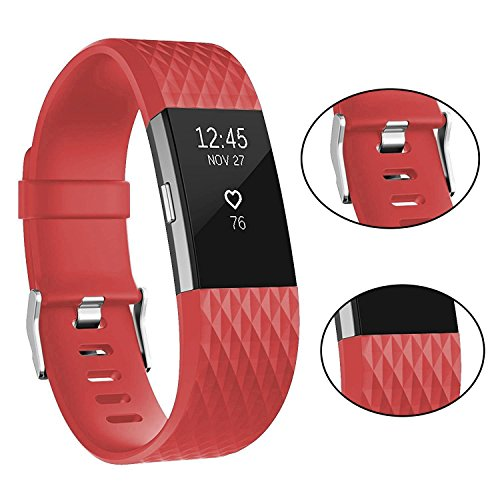 For Fitbit Charge 2 Bands, Adjustable Replacement Bands with Metal Clasp for Fitbit Charge 2 Wristbands Special Edition Red Small