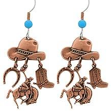 Copper Southwest Cowboy Hat, Boot, Horseshoe, Bucking Bronco Dangle Style Earrings
