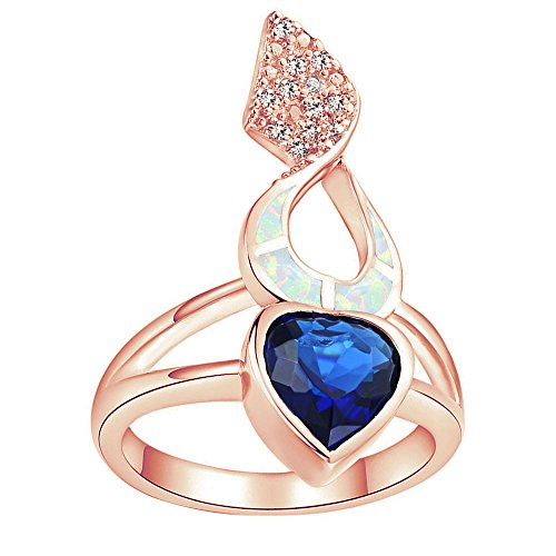 Sinlifu Love Heart Rose Gold AAA CZ Sapphire Drop Earrings Silver Plated Opal Ring Pendant Necklace Jewelry (#7 Ring: White Opal & Sapphire)