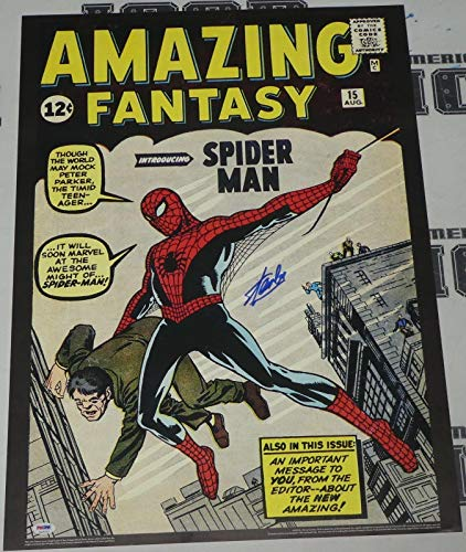 Stan Lee Signed Amazing Fantasy 15 Spiderman Comic Book 20x28 Poster COA - PSA/DNA Certified