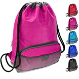ButterFox Waterproof Swim PE Bag Gym Drawstring Sackpack Backpack for Kids, Men and Women with Dry/Wet Separation - Pink