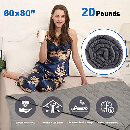 Cheap EasyGoProducts EGP-BLNK-20 EasyGo Premium Adult Weighted Blanket (80 X 60 ) 6 Diamond Shape Pattern 100% Cotton - 5 Layers - Glass Beads Grey Color - 20 Pounds 20lbs Black Friday & Cyber Monday 2019