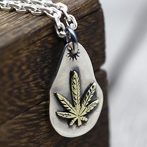 TKHNE s925 Silver Maple Leaf Indian couple necklace pendant wind do old process retro Thai silver jewelry necklace pendant