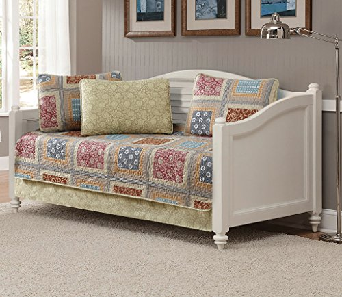 MK Home 5pc Daybed Quilted Coverlet Bedspread Set Patchwork Floral Squares Beige Taupe Red Blue Brown New # Bailey
