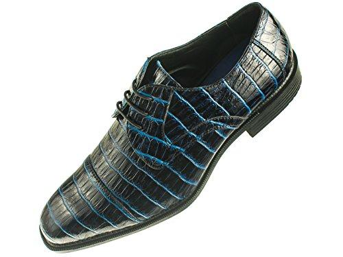 Bolano Mens Navy Royal Blue Peek Thru Exotic Croco Print Oxford Dress Shoes: Style Gaines Royal Blue-052