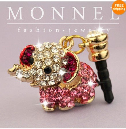 ip164 Cute Pink Crystal Elephant Iphone 4 4s 3gs Android 3.5mm Ear Cap Anti Dust Plug Charm