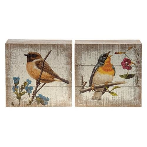 CWI Gifts 2/Set, Songbird Box Signs, Multicolored