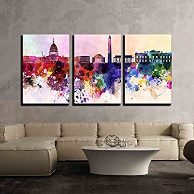 Washington DC in Watercolor - Canvas Art Wall Art - 16