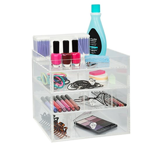 Acrylic Cosmetic Organizer with 3 Drawers, Removable Dividers and Top Shelf by D'Eco
