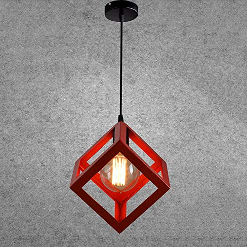 Ganeep LOFT Retro Cage Pendant Light Industrial Cube Metal Pendant Lights Accessory Ceiling E27 Single Head Edison Lamp Hanging lamp for Home Bar Cafe Restaurant (Color : Red)