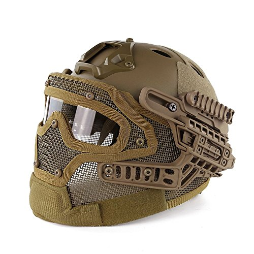 H World Shopping Tactical Protective Helmet Full Face Mask Googgles G4 System Airsoft Paintball Solid Color (Tan) by H World Shopping