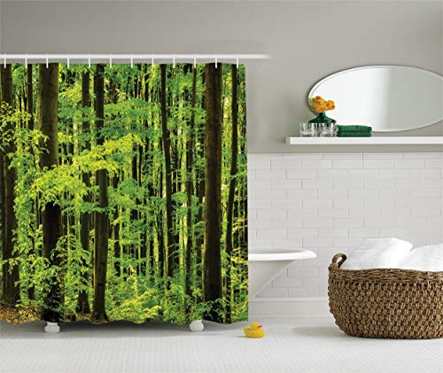 CHA-LRS.BB Farm House Decor Collection, Spring Foliage Beech Forest Morning View in The Mountains, Polyester Fabric Bathroom Shower Curtain Set with Hooks, 72 Inches Long, Lime Green - Farm Set Bb