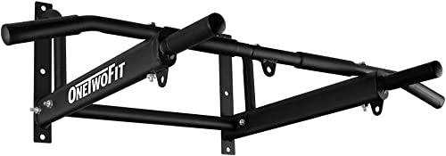 ONETWOFIT Wall Mounted Pull Up Bar with More Stable 6-Hole Design for Indoor and Outdoor Use, Maximum Weight 440 Lbs OT103