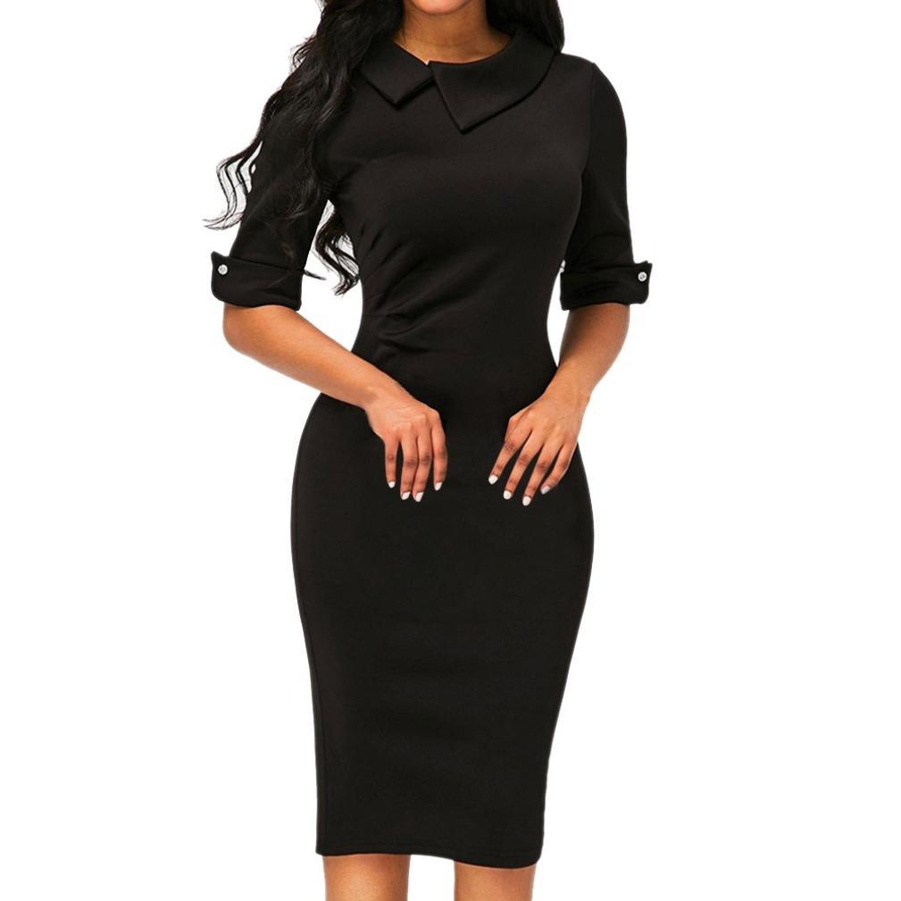IEason Women Dresses Women Retro Bodycon Below Knee Formal Office Dress Pencil Dress with Back Zipper (L, Black)