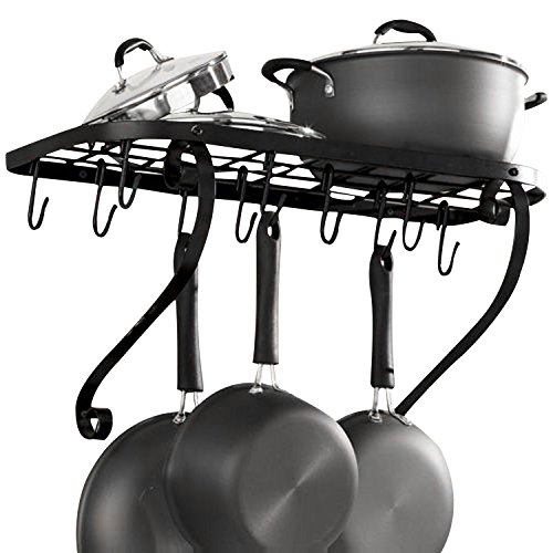 VDOMUS Kitchen Wall Holder Bracket Rack It Up Bookshelf Wall Pot Rack Utensil Hanger Bar, Black