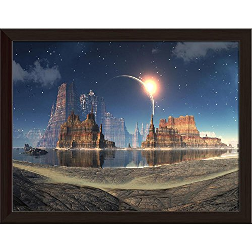 Pitaara Box Solar Eclipse Over Alien Lake Landscape Canvas Painting Dark Brown Frame 17 x 13inch by Pitaara Box