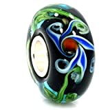 "Solid 925 Sterling Silver ""Black Background with Blue and Red Flower"" Glass Charm Bead for European Snake Chain Bracelets"